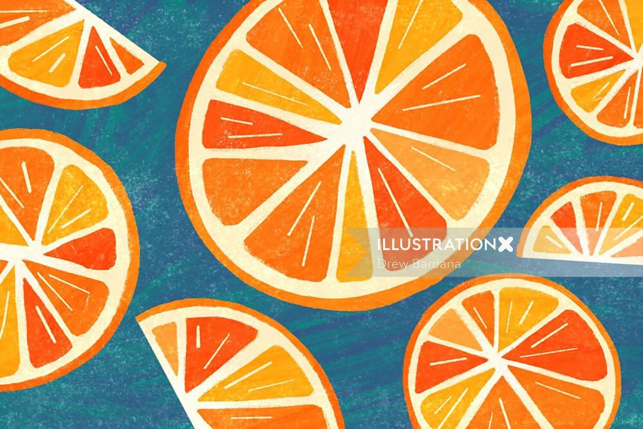 Line and colour orange illustration