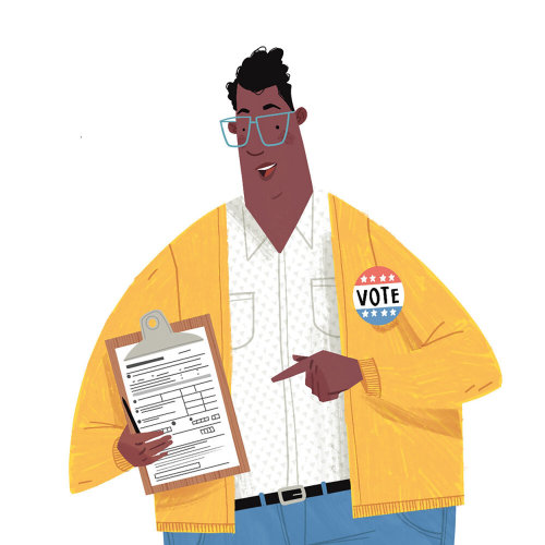 Sign Painter character design of Man with Vote Sign
