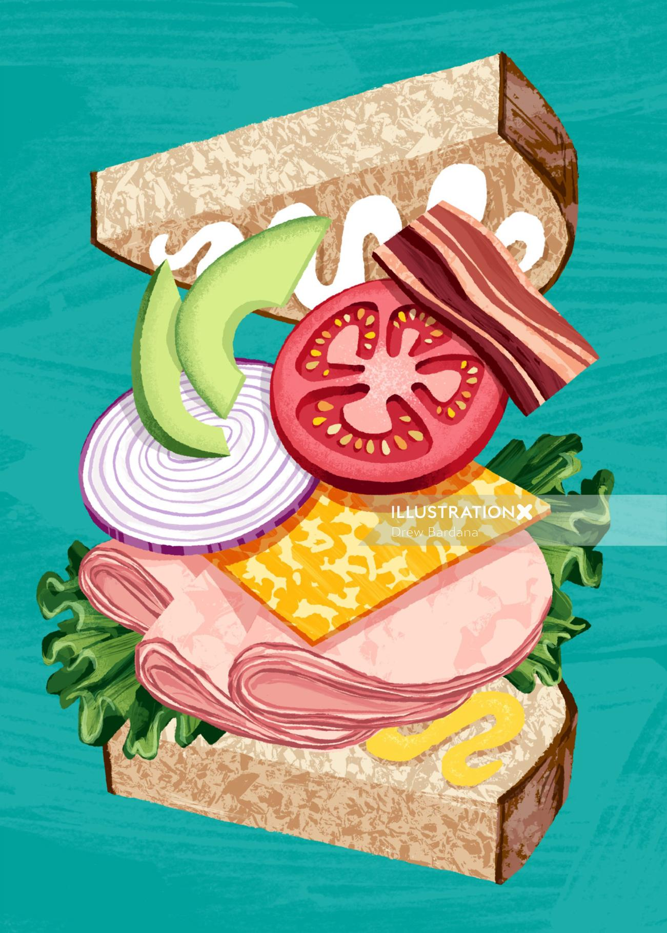 Hand drawn burger illustration