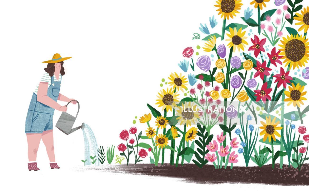 Lifestyle woman watering garden