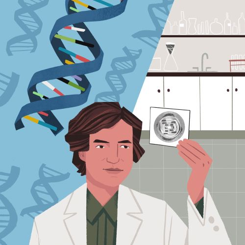 Health scientist checking DNA