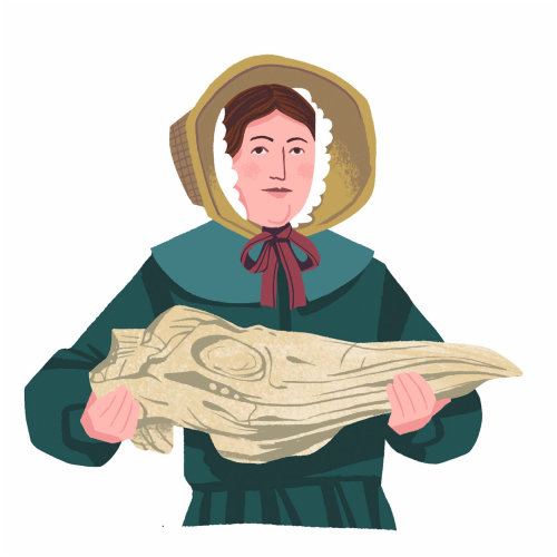 Mary Anning com Fossil