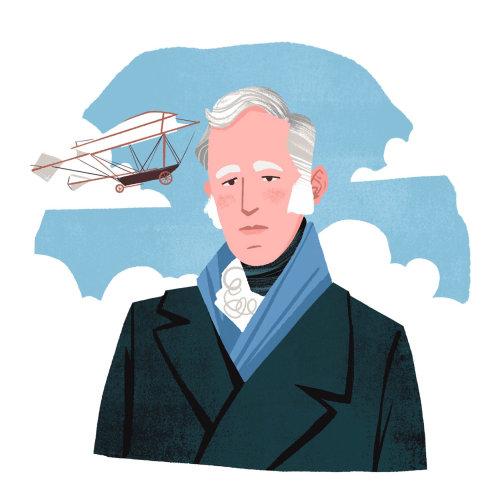 George Cayley e seu planador modelo