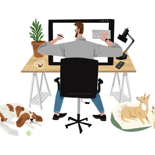 Graphic of man sitting with animals