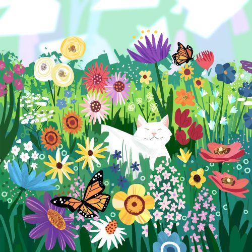 Cat in Wildflowers