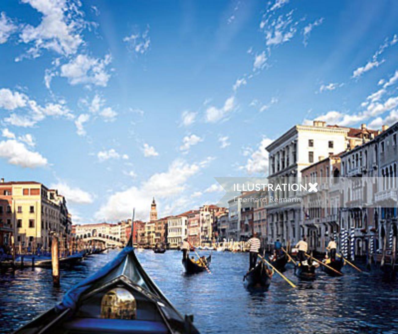Photorealistic Venice city
