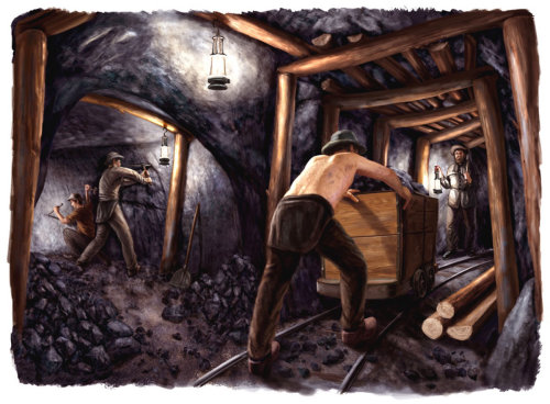 People in coal mine