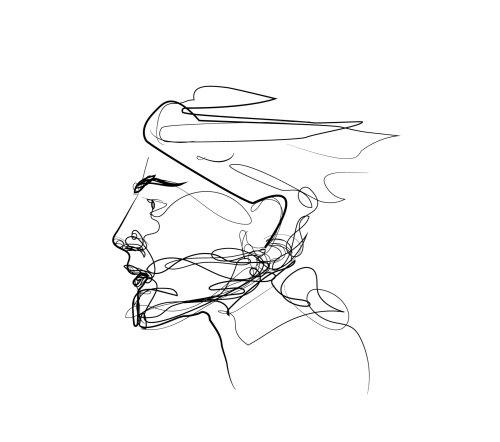 Line art face of man