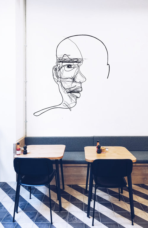 Line drawing of man face