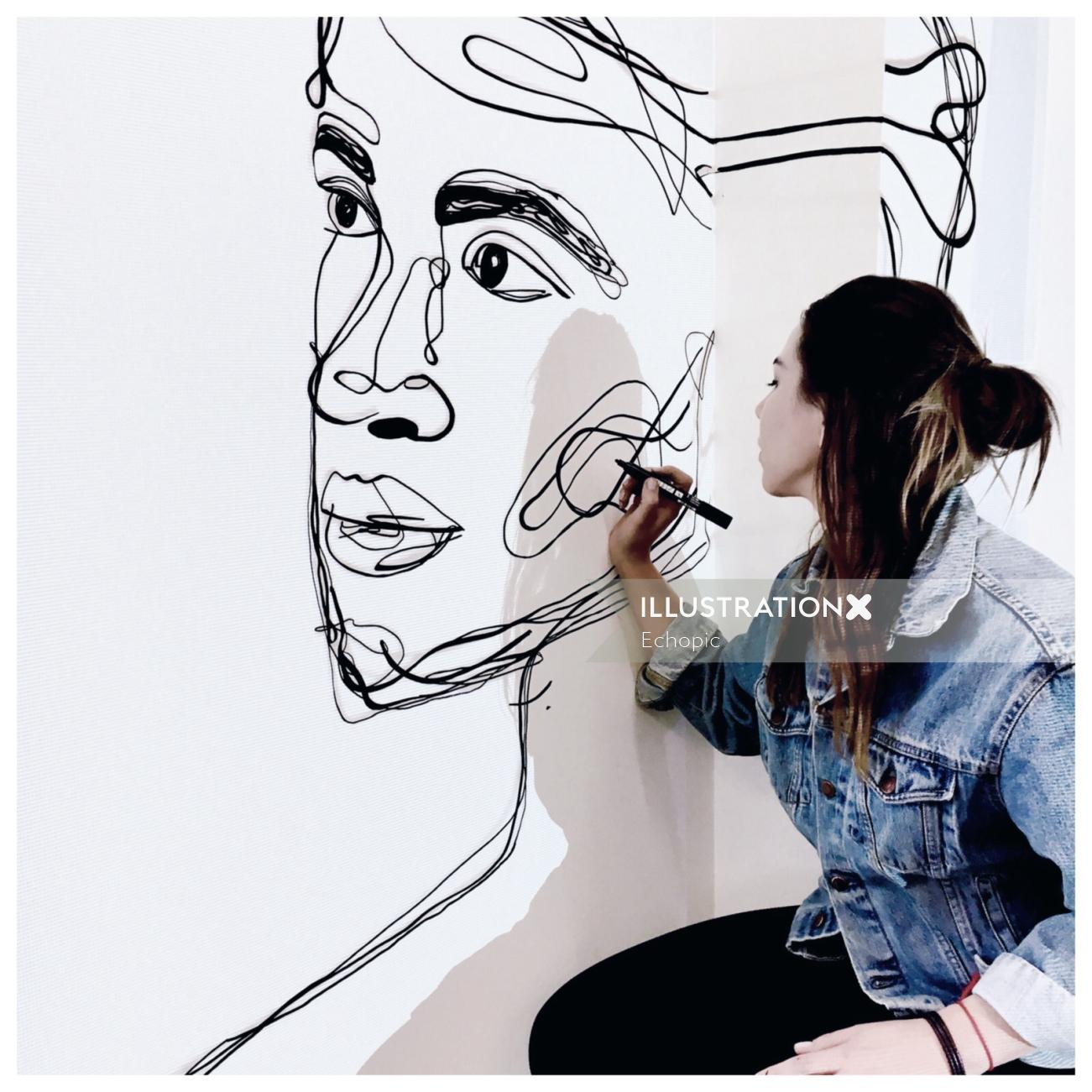 Live event drawing of face portrait