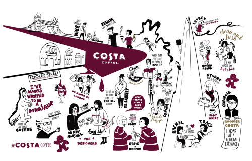 Costa Coffee Shop opening illustration