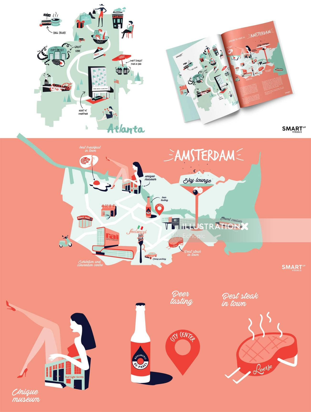 Graphic collage of map and books