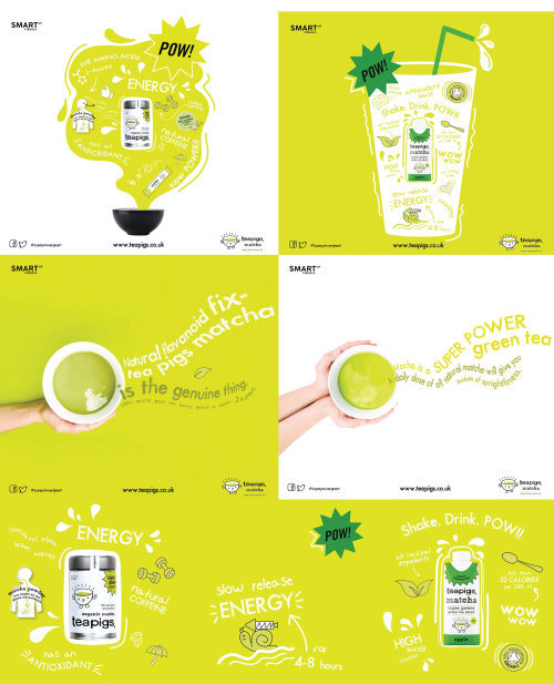 Teapigs Matcha tea illustrations