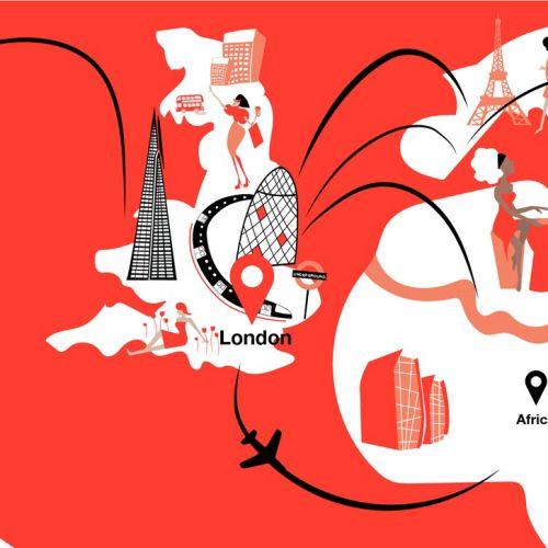 Graphic illustration city map