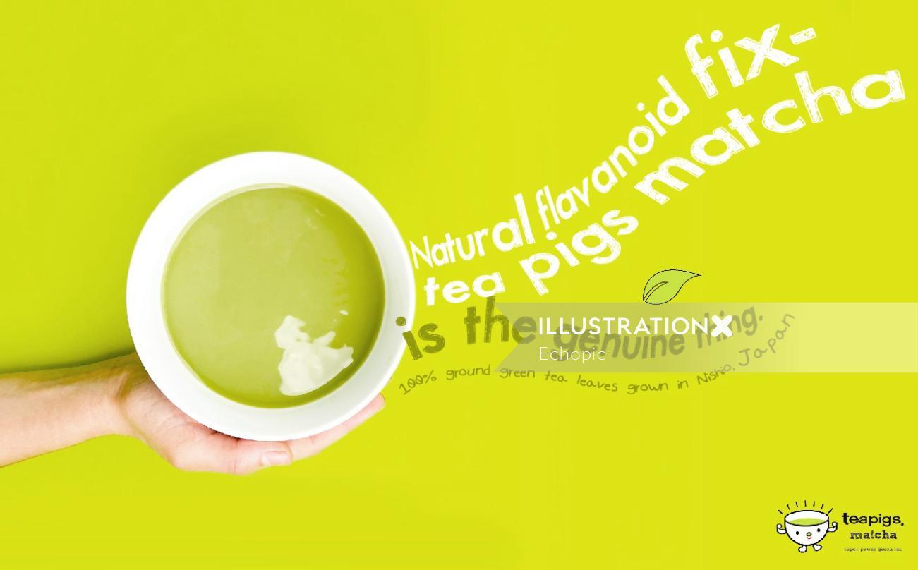 Graphic advertisement teapigs matcha