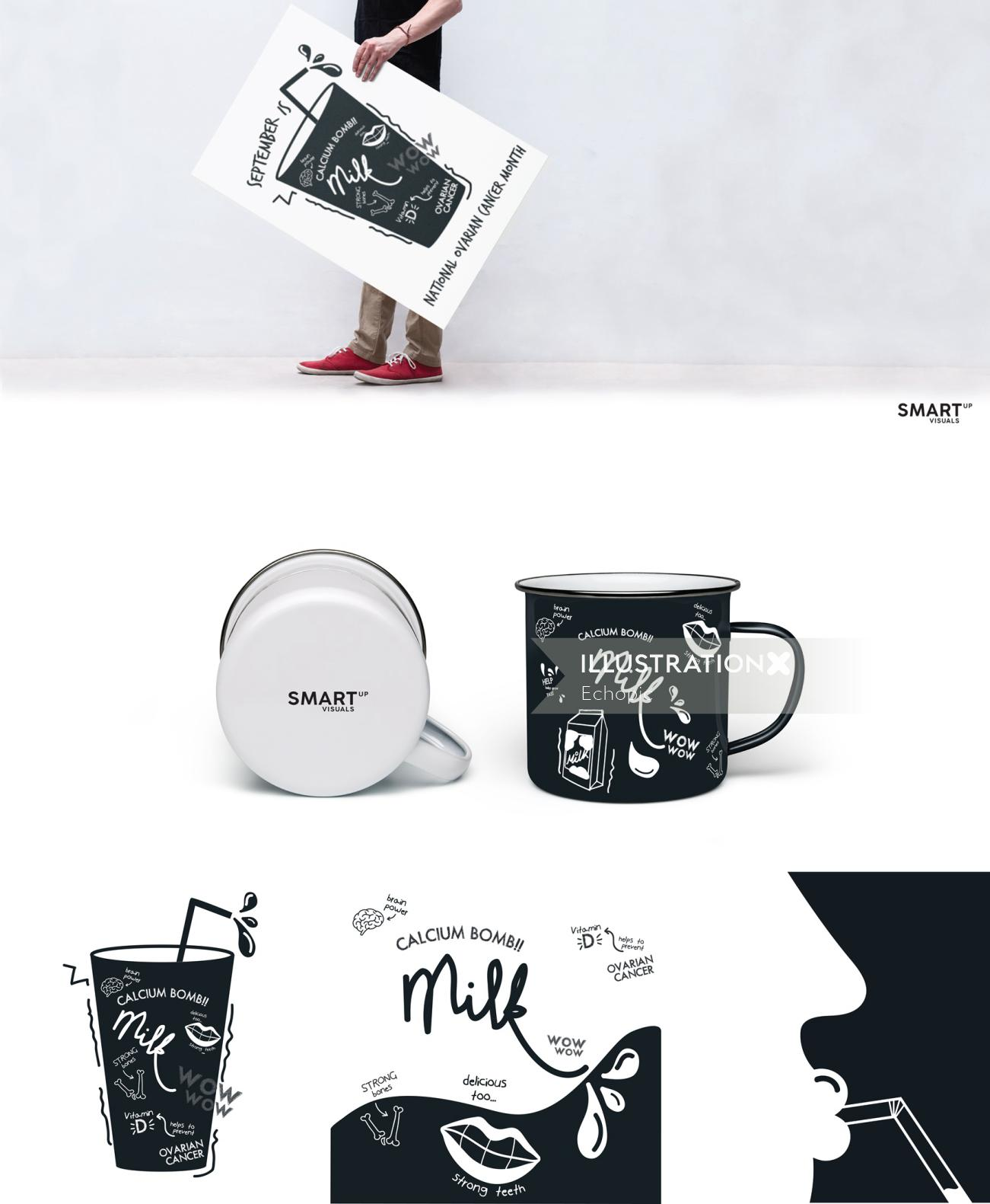 Graphic collage illustration of glass and mugs