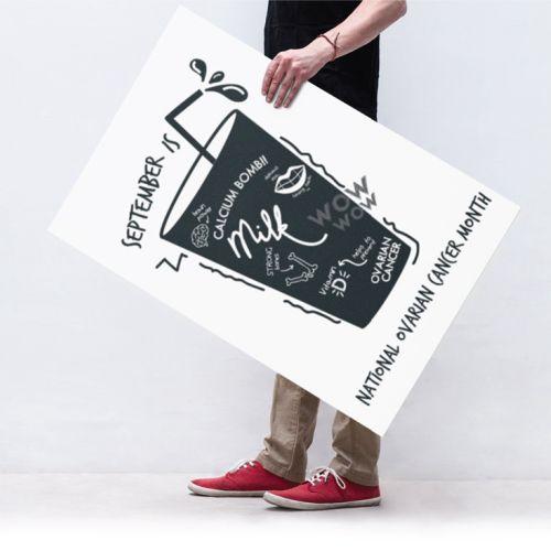 Graphic illustration of man holding banner