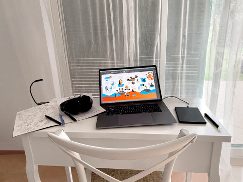 Technology Laptop with graphic poster