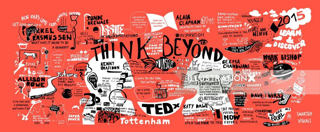 Poster TedX Tottenham event Think Beyond