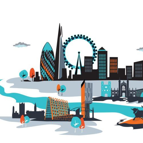 Vector illustration of the London city scape and panorama