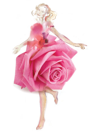 Woman in rose flower made dress