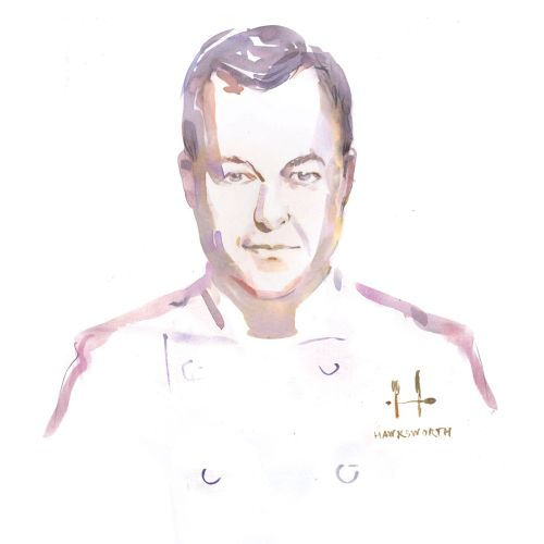 Chef portrait drawing by Elena Viltovskaia