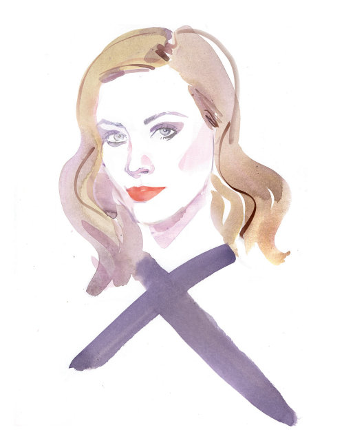 Watercolour Portrait Painting of Sarah Gadon