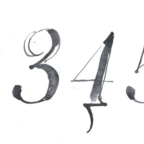 Watercolor lettering of numbers
