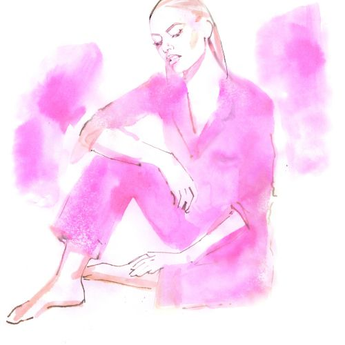 Watercolour drawing of woman sitting on the floor