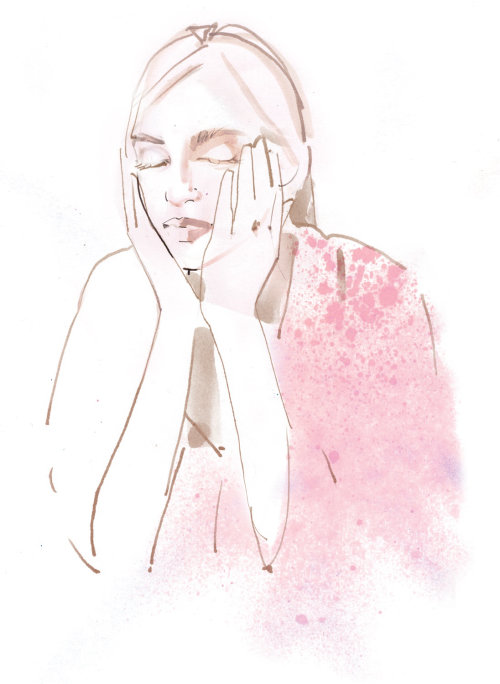 Watercolor drawing of self care beauty for VOGUE Japan