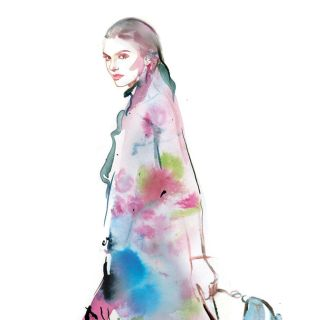 Watercolor drawing of beautiful girl with bag