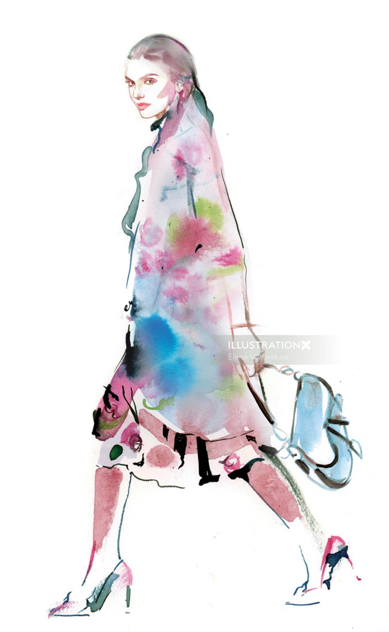 Watercolor drawing of beautiful girl with bag