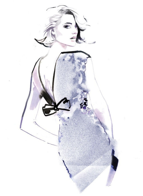 Fashion girl watercolour sketch