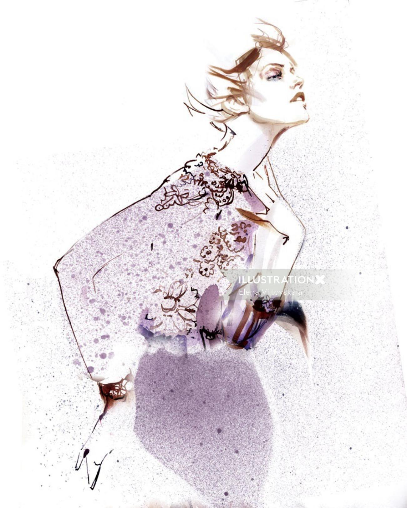 Watercolour drawing of a fashion girl