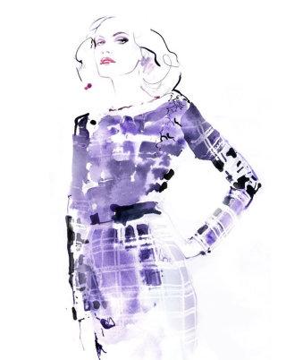 Watercolour fashion illustration of a woman