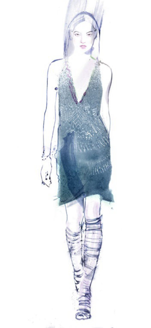 Runway fashion sketch