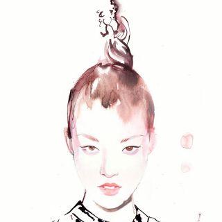 Woman watercolour sketch
