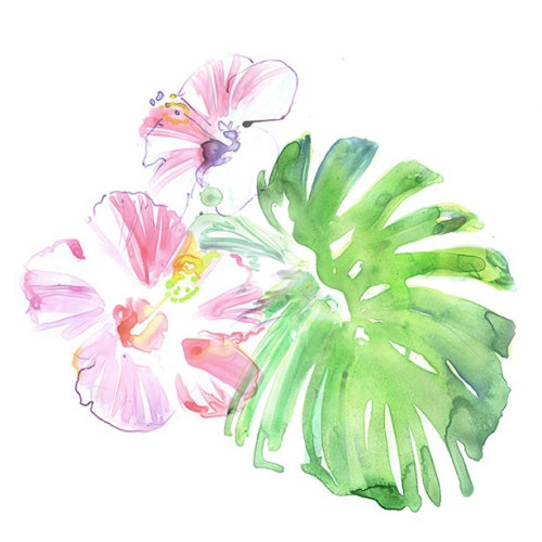 Watercolor painting of tropical flowers