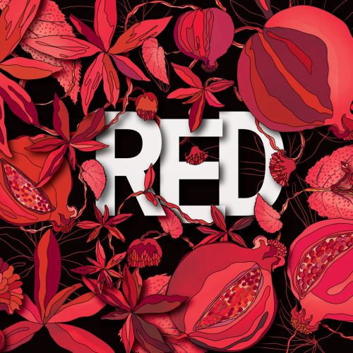 Hand lettering of red