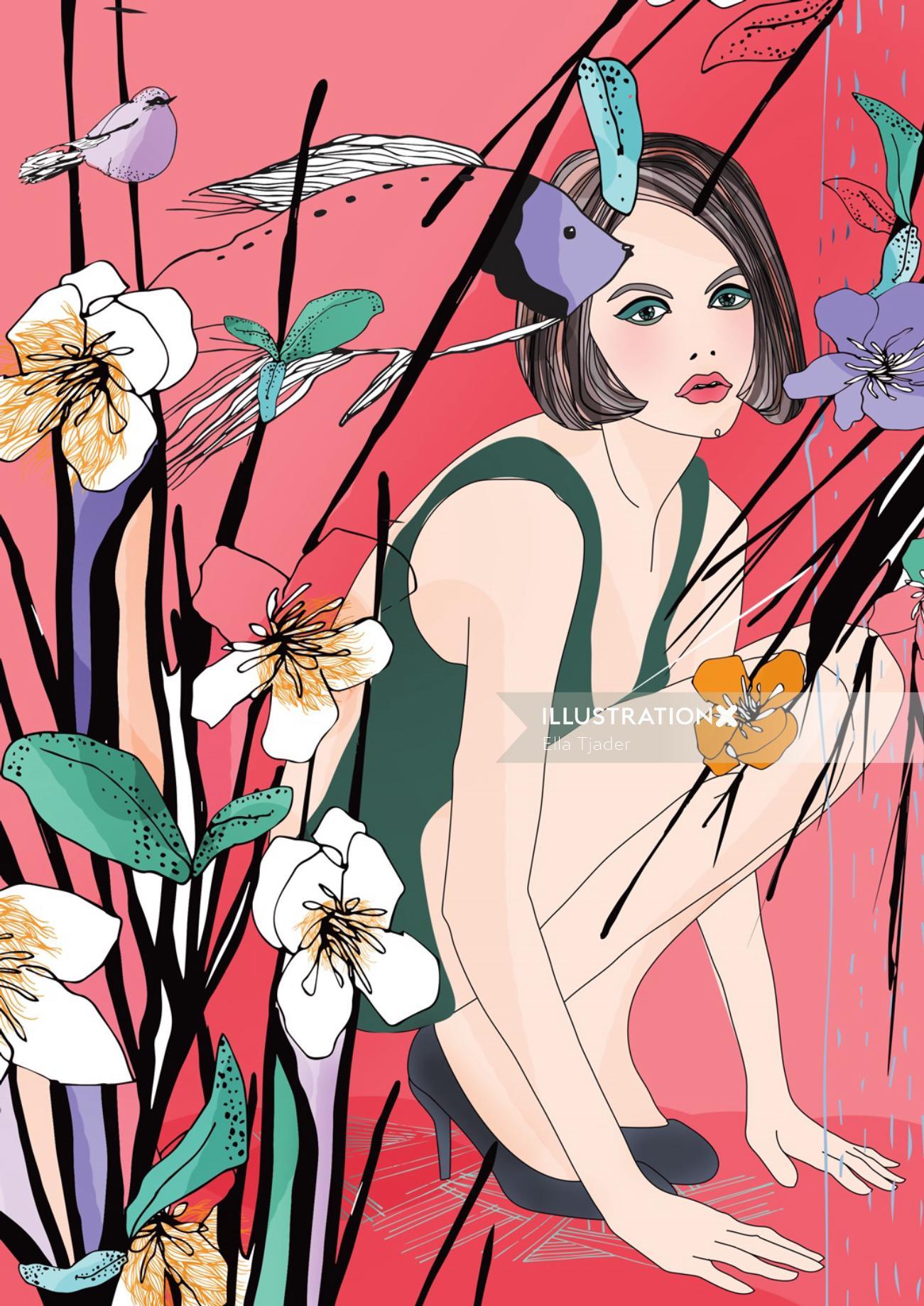 Girl vector portrait illustration