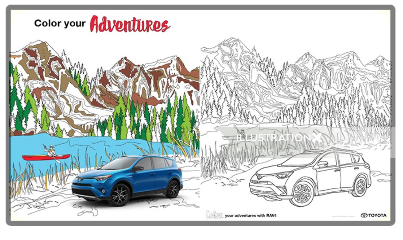 Vector illustration of Toyota adventure