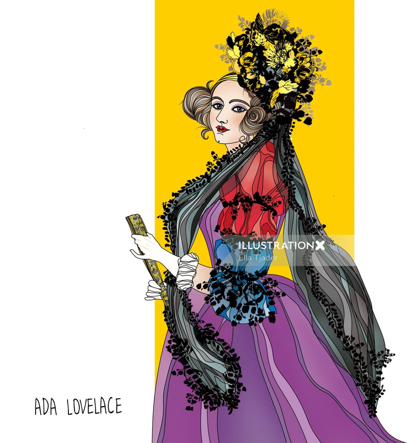 Ada Lovelace digital art for Fiercely Female 2019 calendar