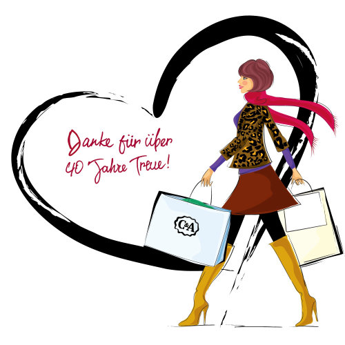 Vector art of shopping women for C&A Switzerland