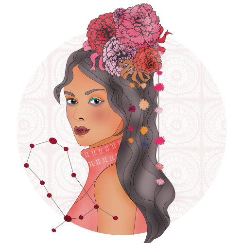 Digital painting of girl for Scorpio sign