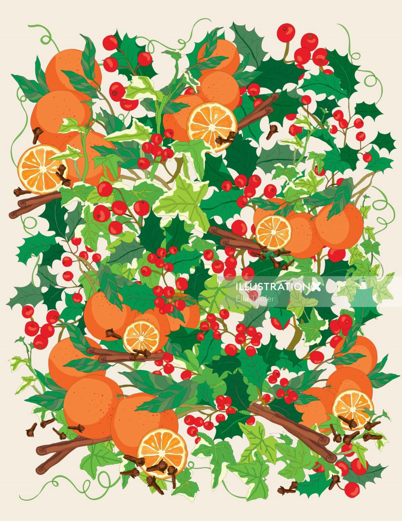 Vector illustration of oranges and cinnamon pattern
