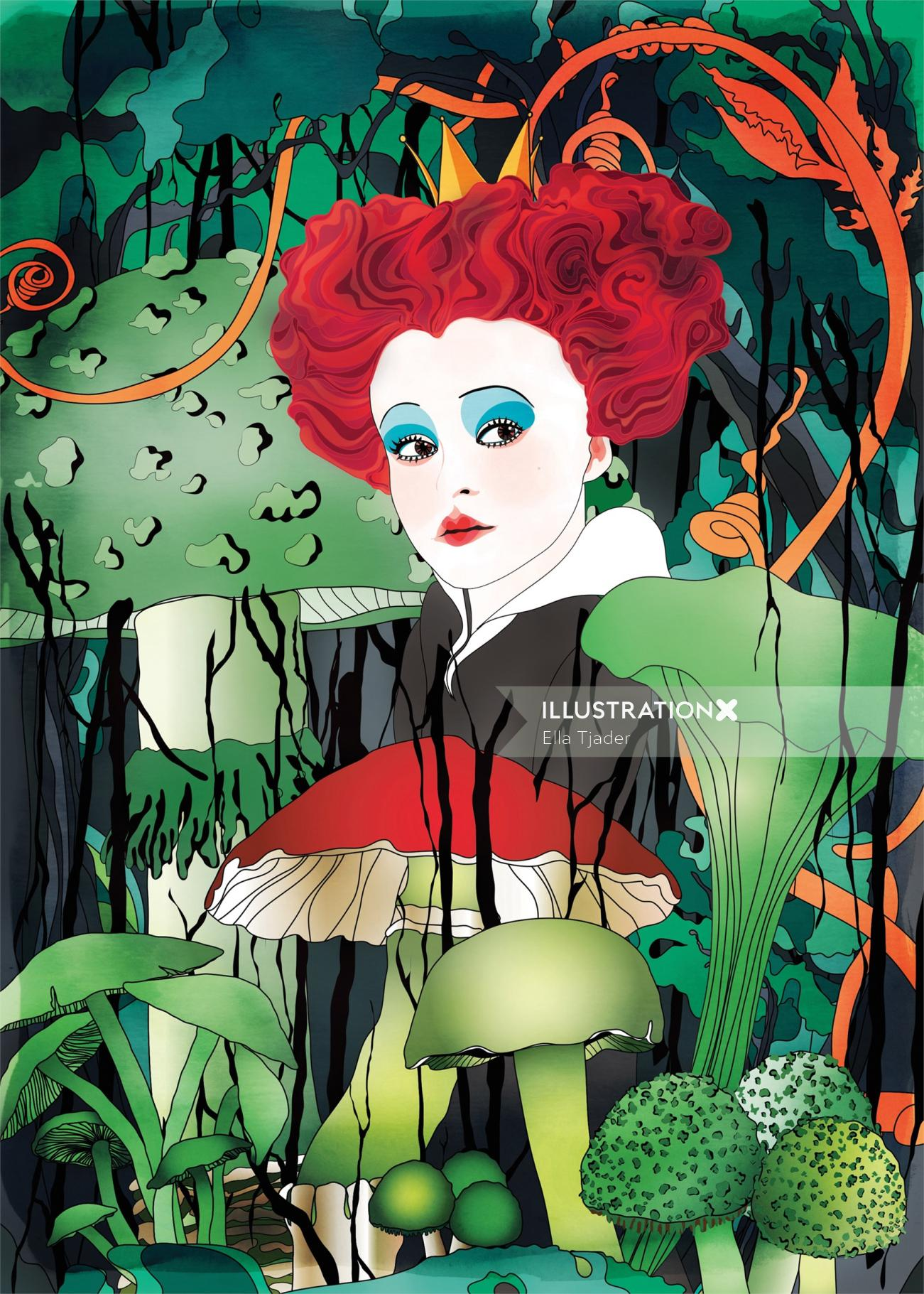 Portrait of Red Queen in a magical Alice in Wonderland forest