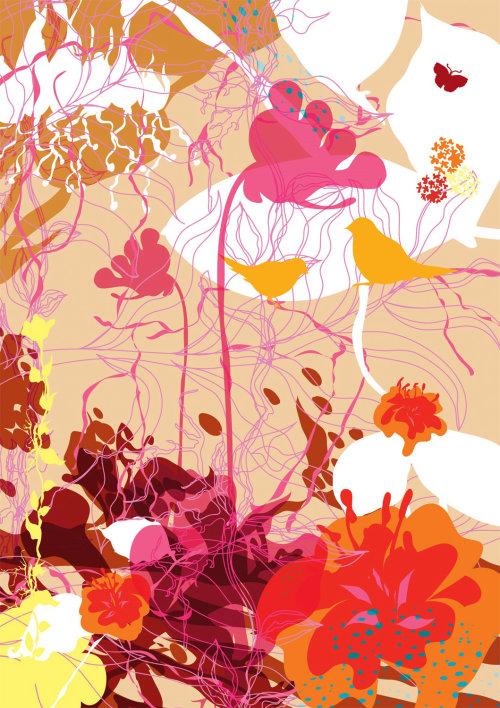 Flowers surface design by Ella Tjader