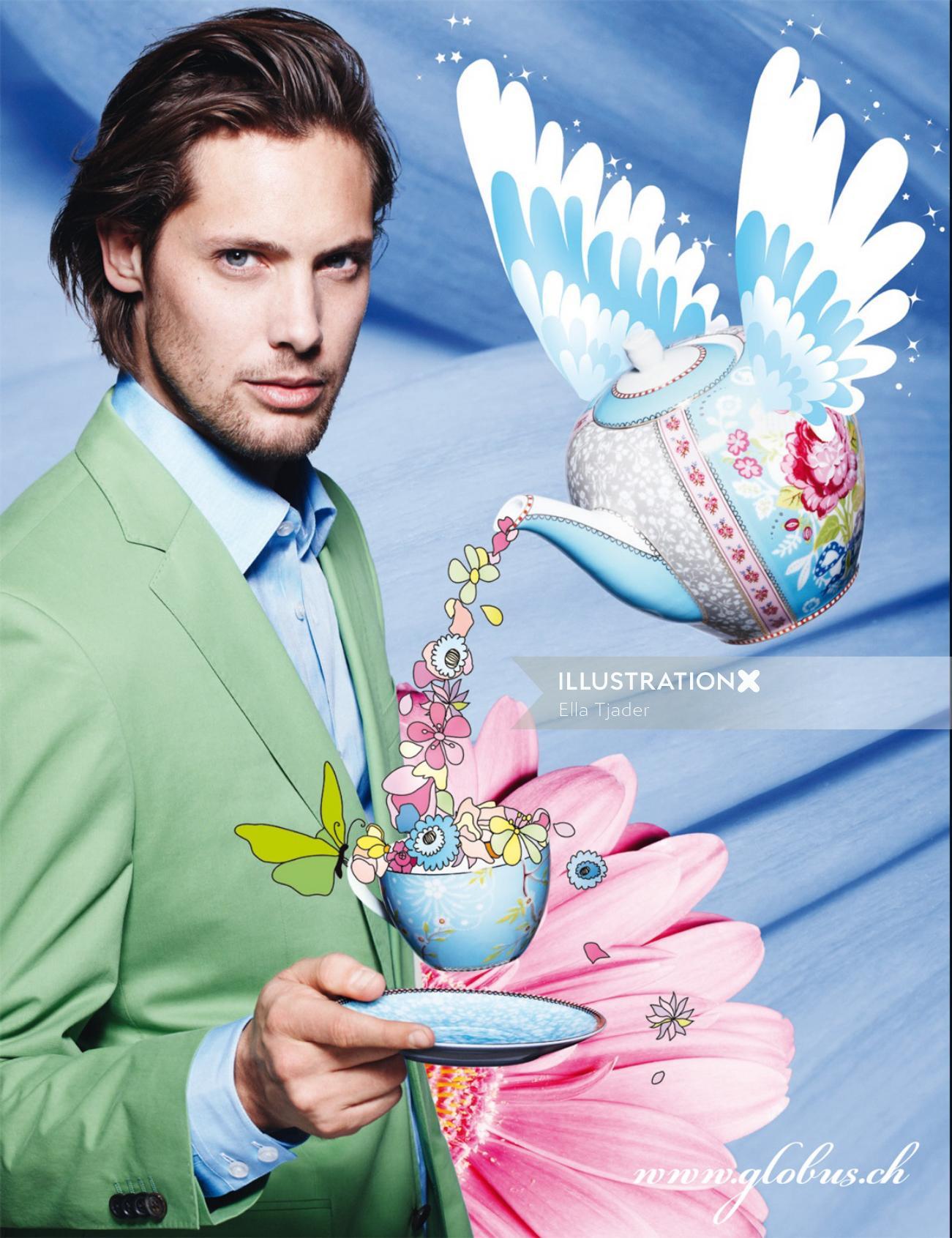 Illustration for wonderland spring fashion