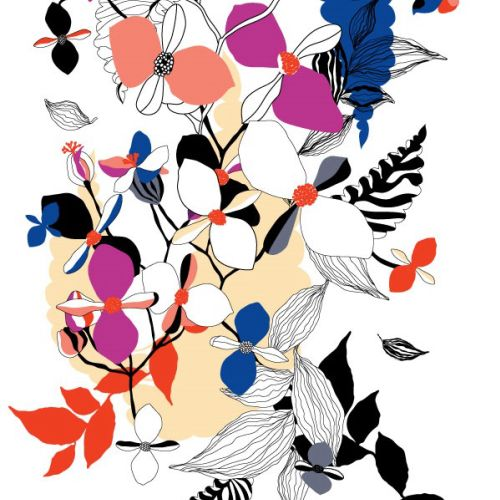 Colorful decorative floral prints