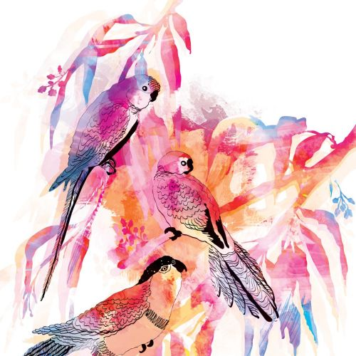 Brush painting of Parrots